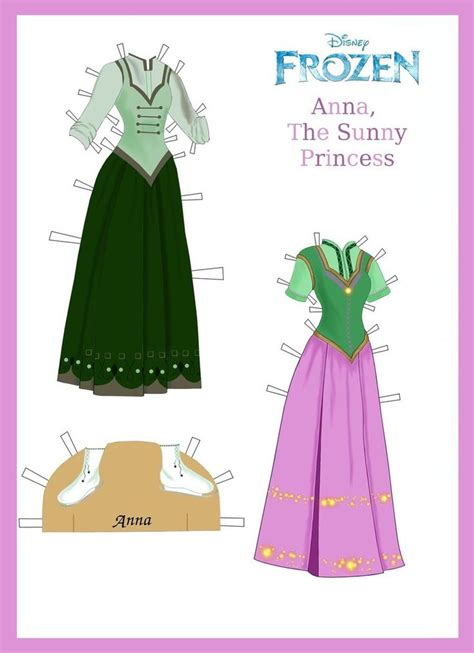 printable frozen paper dolls disney s frozen paper dolls anna s outfits page 2 by