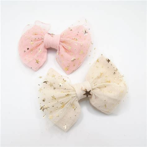 Sweety Gold M 28 7 compre hair bow clip gold copper pingente light pink glitter tulle