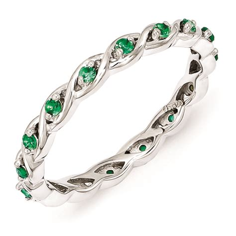 carinagems sterling silver ring created emerald stones