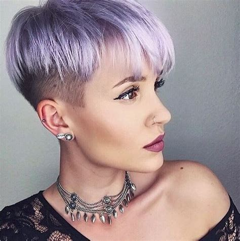 pixie with buzz sides pastel lavender buzzed sides with layers hairstyle haircut