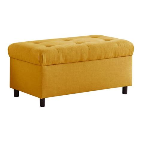 french storage bench tufted storage bench in french yellow i can t get enough