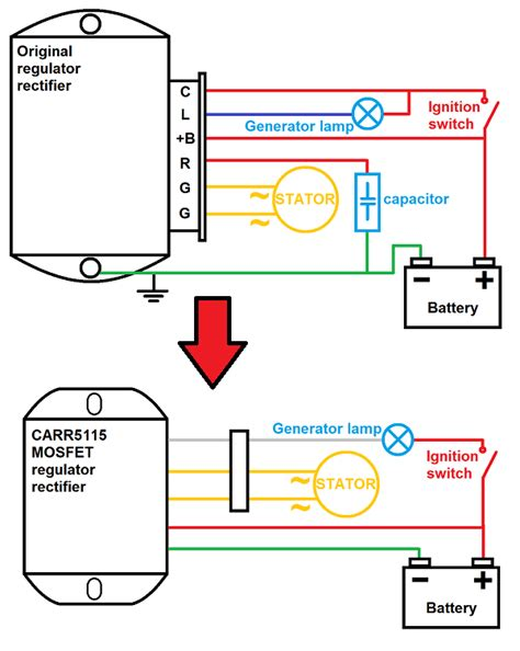 diagram for wiring voltage regulator rectifier generator