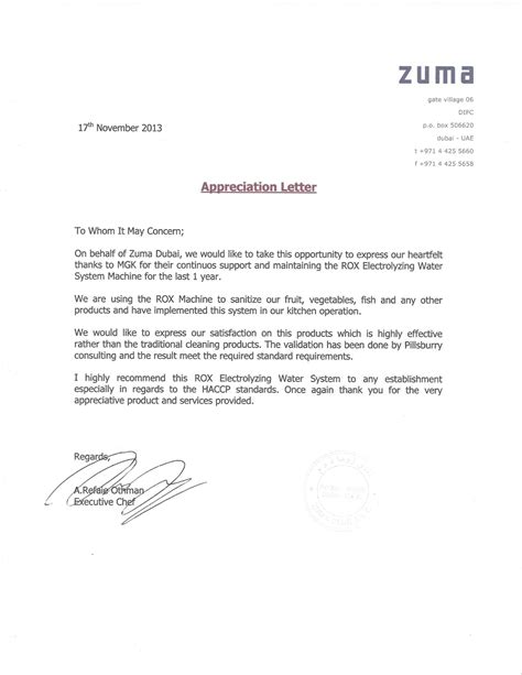 appreciation letter restaurant the ultimate chemical free sanitizing solution rox mgk