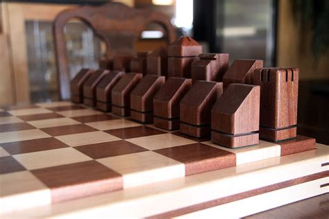 unique handmade wooden chess set by dave dufour