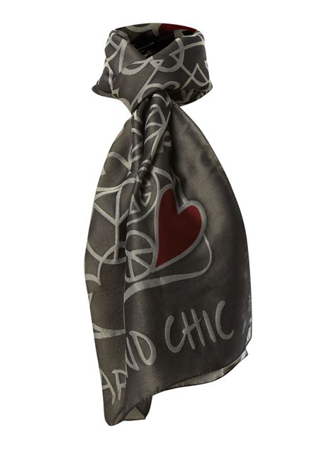 moschino cheap chic print silk scarf in gray