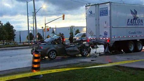 dead  car collides  transport truck