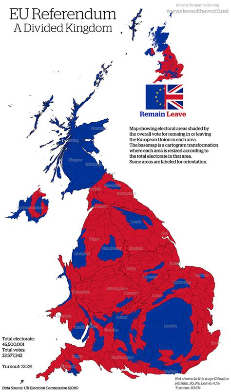 map uk vote brexit cartogram special brexit geographical