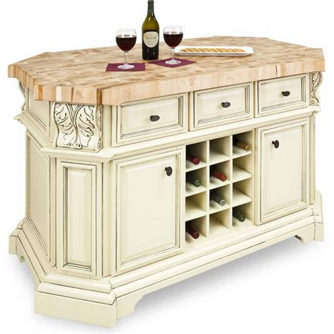 jeffrey acanthus kitchen island with maple butcher block top in antique white and
