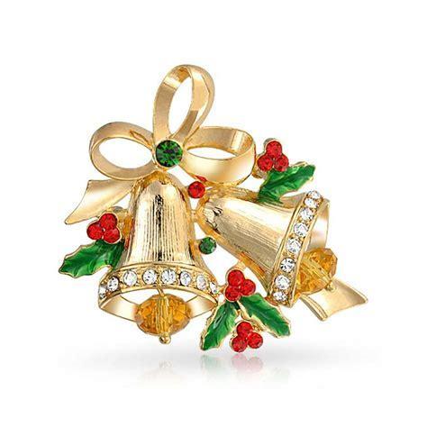 Holiday Christmas Bells Bow Ribbon Brooch Pin Garnet Color