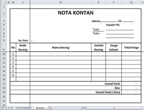 format nota penjualan nota kontan penjualan iferor