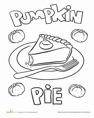 pumpkin pie coloring page education com