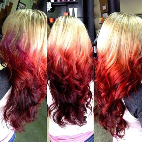 ombre hair technique blonde with red ends red ombre hair blonde to red ombre hair candy