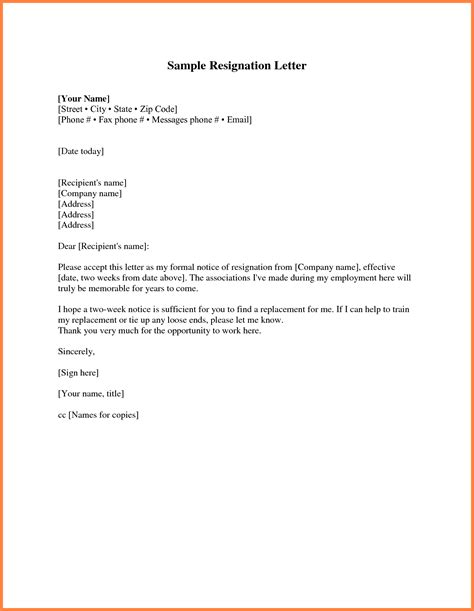 Notice Letter For Resignation by 11 Sle Resignation Letter One Week Notice Notice Letter