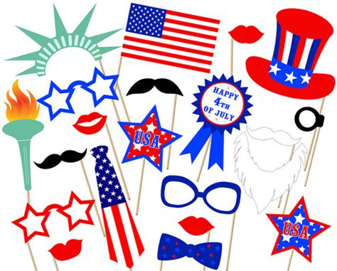 Printable Photo Booth Props 4th Of July | fourth of july party photo booth props printable instant