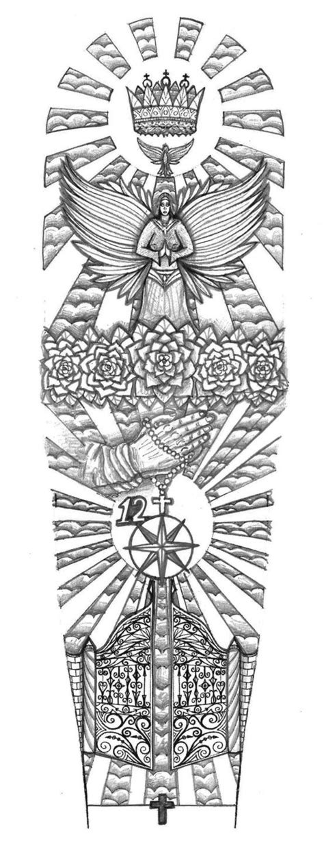 831 tattoo design religious gates of heaven design by