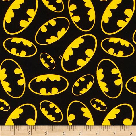 batman wallpaper material design batman tossed emblems black discount designer fabric