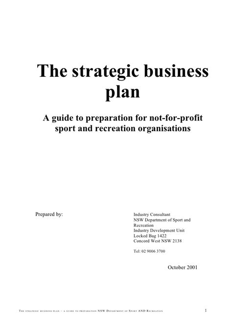 business plan title page template the strategic business plan