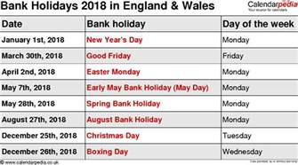 2018 Calendar Uk With Bank Holidays Bank Holidays 2018 In The Uk