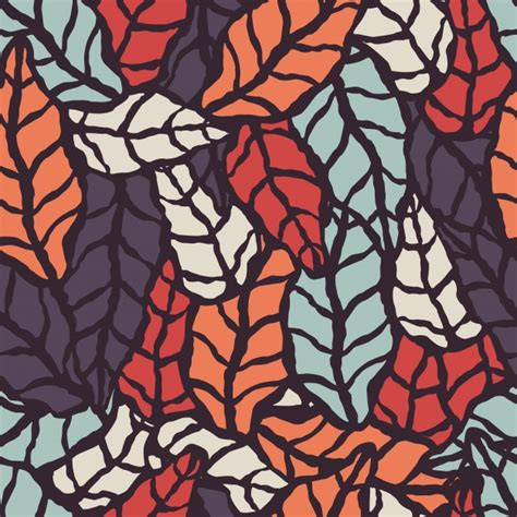 natural pattern ai seamless pattern with hand drawn natural leaves vector