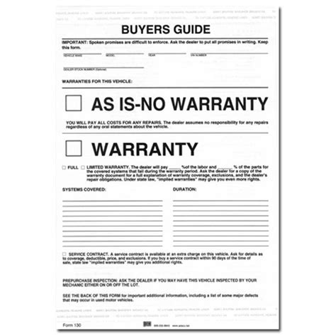 as is warranty form federal buyers guide as is no warranty form pack of 250