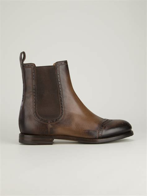 gucci brogue chelsea boot in brown for lyst