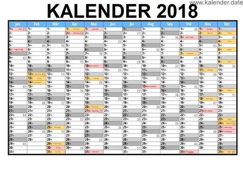 Kalender 2018 In Excel Kalender 2018 Mit Ferien And Feiertagen