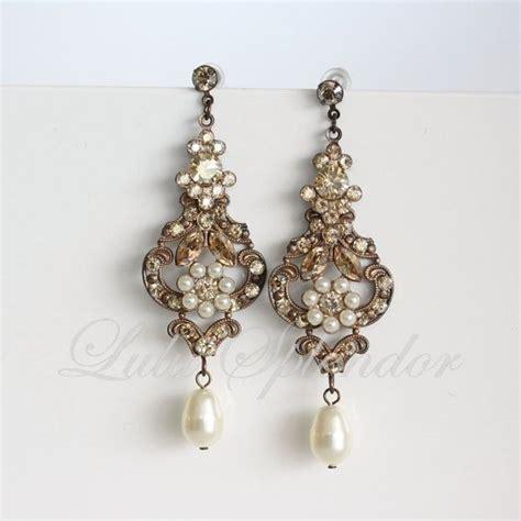 Ohrringe Hochzeit Vintage by Chandelier Wedding Earrings Antique Gold Bridal Earrings