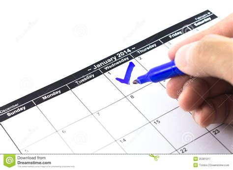 Check Calendar Blue Check On The Calendar At 1st January 2014 Stock
