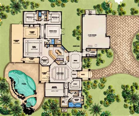 house plans monster luxury style house plans 4070 square foot home 1 story