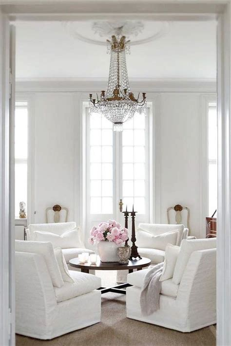 french style living room  white linen slip covers