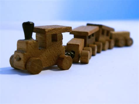 Three Small Trains Wood Toys free wooden stock photo freeimages