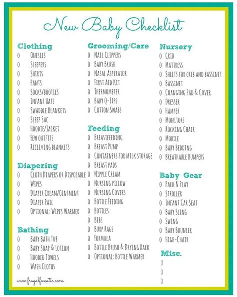 New Baby Supply Checklist Baby Checklist Free Printable Frugal Fanatic