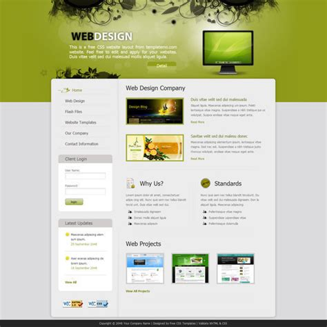 templates for html pages free download 50 free css x html templates noupe