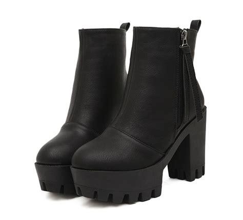 Platform Chunky Heel Boots classics stylish side zipper tasseled chunky heel platform