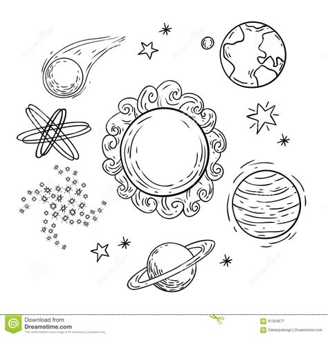 doodle planet planets doodle illustration stock vector