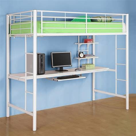 Bunk Bed With Workstation Walker Edison Metal Loft Bed With Computer Workstation White Btozwh