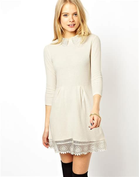 knit skater dress asos knit skater dress with lace collar in beige