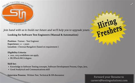 Openings For Mba Freshers In Bangalore by Testing Opening For Freshers In Bangalore Top 10
