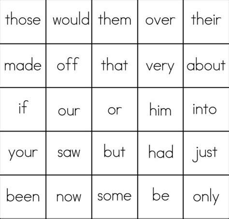 bingo card templates word bingo template word list 4 sight word bingo card 2