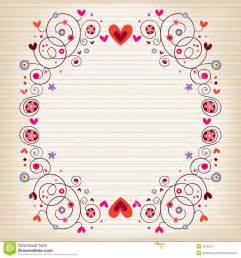 hearts and flowers frame on lined note book paper stock