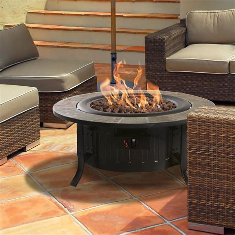 Bond Bolen Steel Outdoor Gas Table Top Fireplace Reviews Patio Fireplace Table