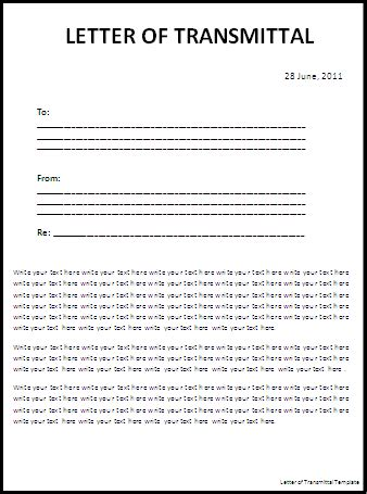 letter transmittal templates word templates