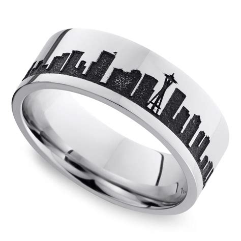 Wedding Rings Seattle by Seattle Skyline S Wedding Ring In Cobalt