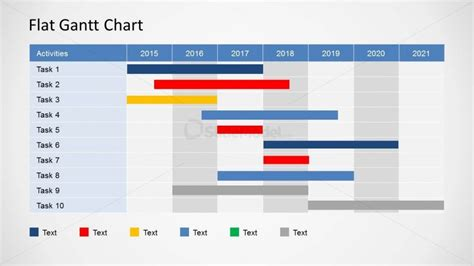 simple gantt chart template flat gantt chart for powerpoint yearly plan slidemodel