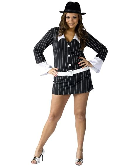 Plus Size Gangster Costume Women | gangster sexy adult plus size costume women halloween