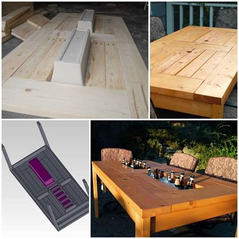 Patio Cooler Table Diy Patio Table With Built In Wine Coolers Home Design Garden Architecture Magazine