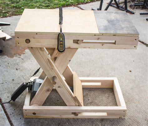 scissor bench adjustable height motorized workstation makezilla