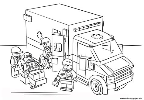 lego ambulance city coloring pages printable