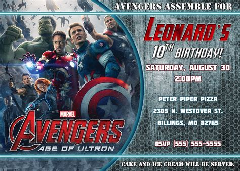 avengers template for birthday invitation avengers birthday invitation kustom kreations
