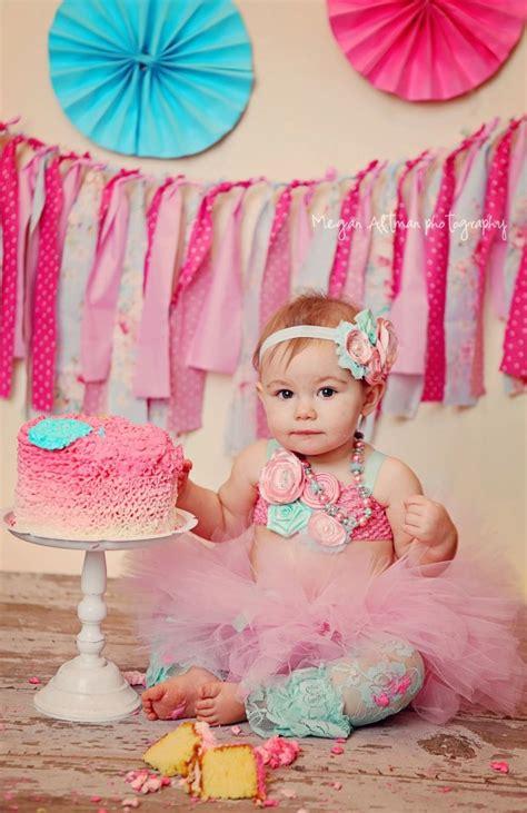 pink aqua birthday tutu  headband outfit st birthday girl newborn infant cake smash